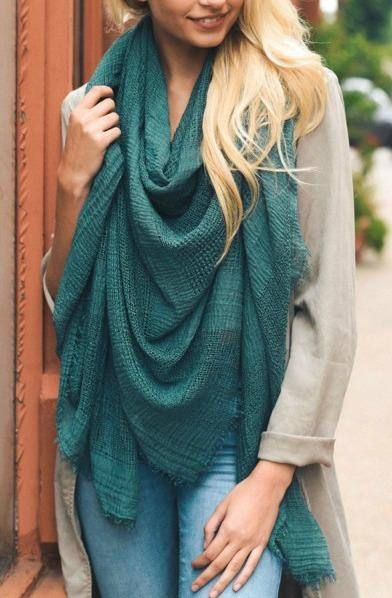 Solid Dark Teal Shredded Open Weave Fringed Blanket Scarf Fall