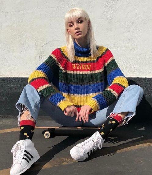 Weirdo knit striped jumper