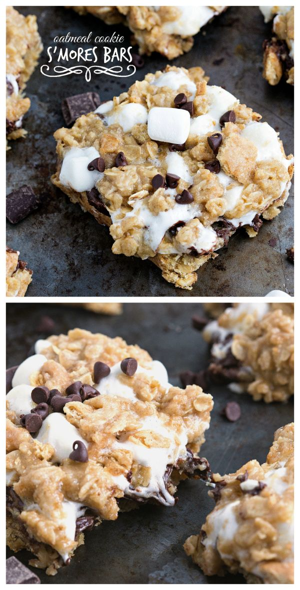 Oatmeal Cookie S'mores Bars I #smores #chocolate #dessert