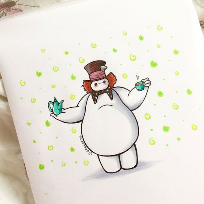 Teenage artist re-imagines Baymax as 15 different Disney characters
