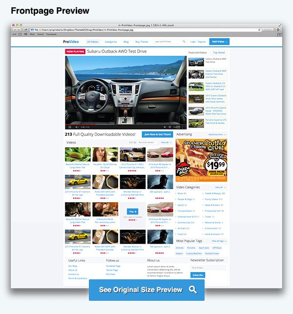 ProVideo Drupal Theme Frontpage