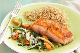 Honey-Balsamic Glazed Salmon. A honey-sweet glaze balanced with a splash of balsamic vinaigrette tops flaky salmon for a simple and delicious way to enjoy seafood.