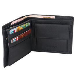 Carteira da carteira com três dobras de couro genuíno do couro genuíno da forma / bolsa de moeda titular do cartão de crédito magro