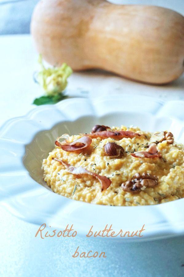 Ah le retour des courges, ça me rend toute chose! Pour célébrer ça, un plat délicieux et IG bas : un risotto à la butternut et au bacon!