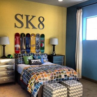 An awesome room for the skateboarder in your life. Click through for more great Teen bedroom ideas! (Biking, Skiing, Hunting/Camo,..) Let Fireflies & Fiddlesticks design one a similar room for you!