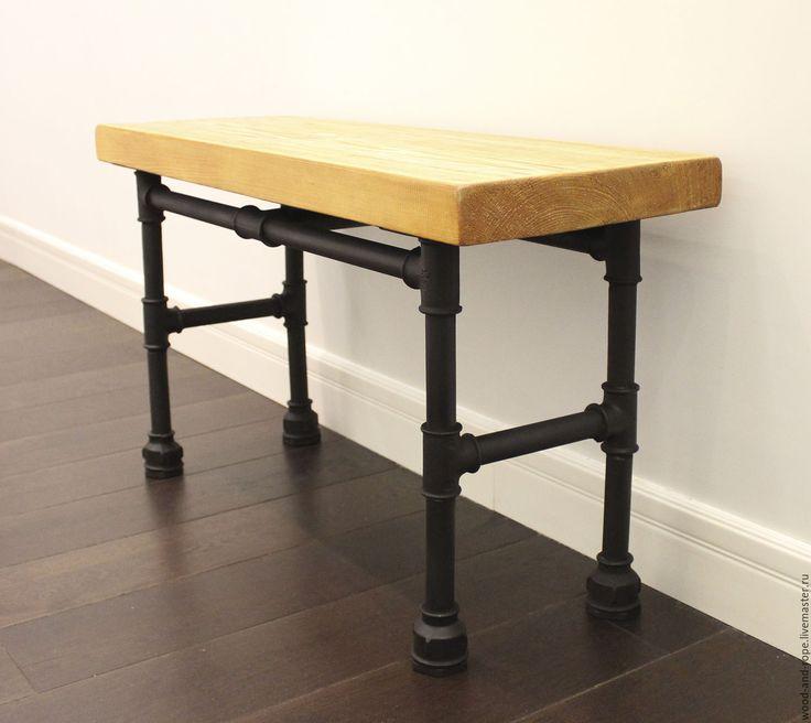 Купить Скамейка или стол - скамейка, табурет, столик журнальный, столик из дерева, промышленный, лофт
