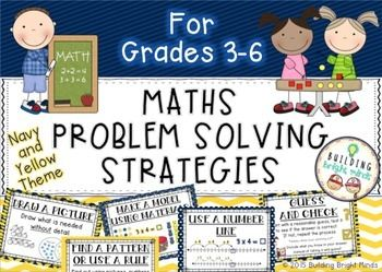 Grades 3-6 Maths Problem Solving Strategies {Navy and Yellow Theme}This problem solving strategy pack allows students to choose from a range of strategies to help them solve maths problems. Use this pack as a classroom wall display or print out smaller pages for a handy individual resource.