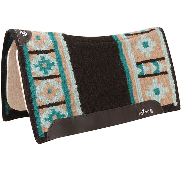 Classic Equine Black and Teal Zone Wool Top Saddle Pad