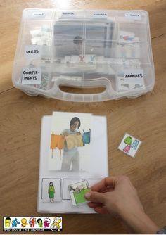 maleta con pictogramas para trabajar la estructuración de frases con fotos.