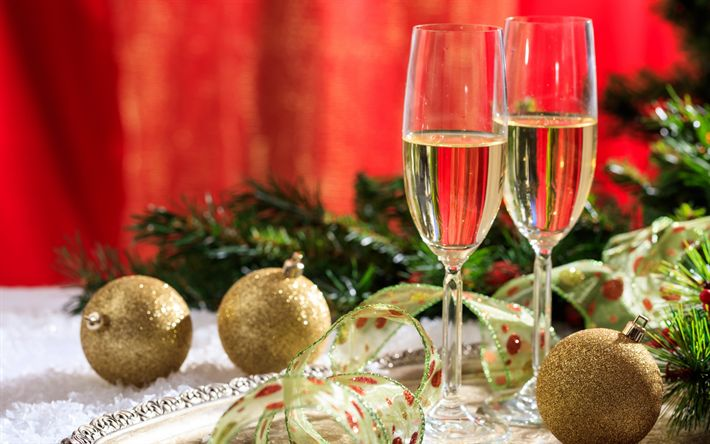 Download wallpapers Champagne, New Year, golden Christmas balls, Christmas, silk ribbons, glasses of champagne
