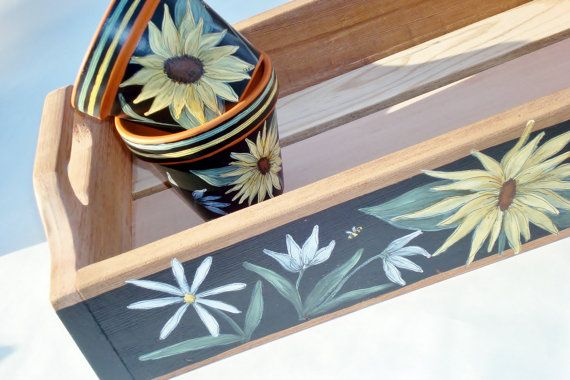 Hand Painted Cedar Table Top Tray by ThePaintedPine on Etsy, $60.00
