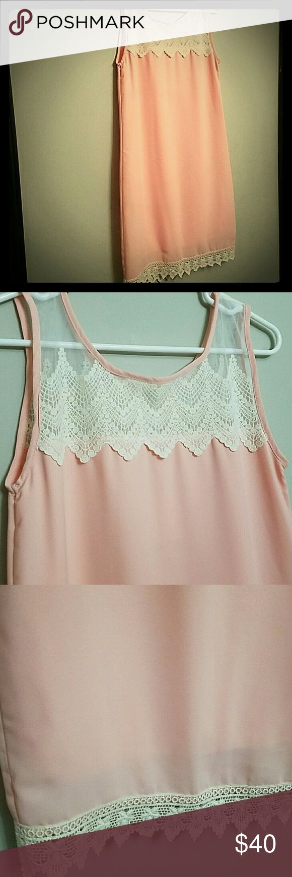 """Team Rose pink dress with lace trim Team Rose pink dress with lace trim fully lined measures 32"""" bust 34"""" waist and is 34"""" long...sweet deal on a super dress just in time for Easter! Tea n' Rose Dresses Mini"""