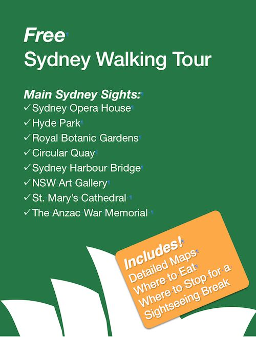 Free Sydney City Walking Tour. This walking tour starts at Hyde Park then loops around the city to the Sydney Opera House then back through the Royal Botanic Gardens and the Domain. Sydney main sights are all included in this one tour.