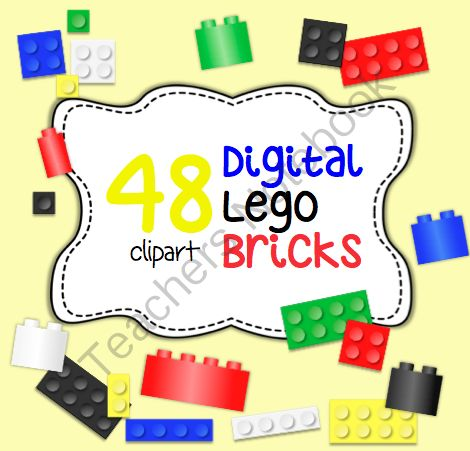 Lego Brick Clipart from Art with Ms. Gram on TeachersNotebook.com -  (48 pages)  - Lego Brick Clipart  Package of 48 lego brick images. Lego brick clipart may be used for personal or education use. Clipart may only be used commercially in your own Teacher's Notebook or TPT products if proper credit is given. �Thank you. ?
