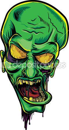 Кричать зеленый зомби. Хэллоуин плакат