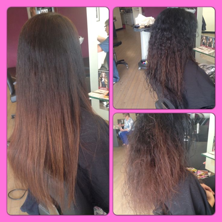 Before and after Brazilian keratin straightening