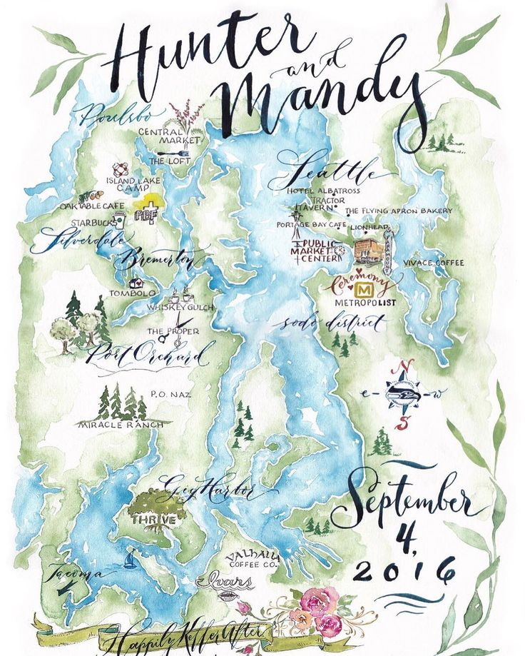Watercolor wedding map by E.Danae featuring the beautiful Northwest Puget Sound area.