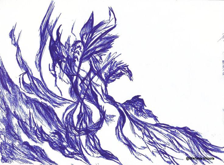 Penna bic su cartoncino, 2016.
