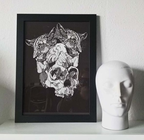 Framed Skullcub Print - Original artwork by Luke Dixon