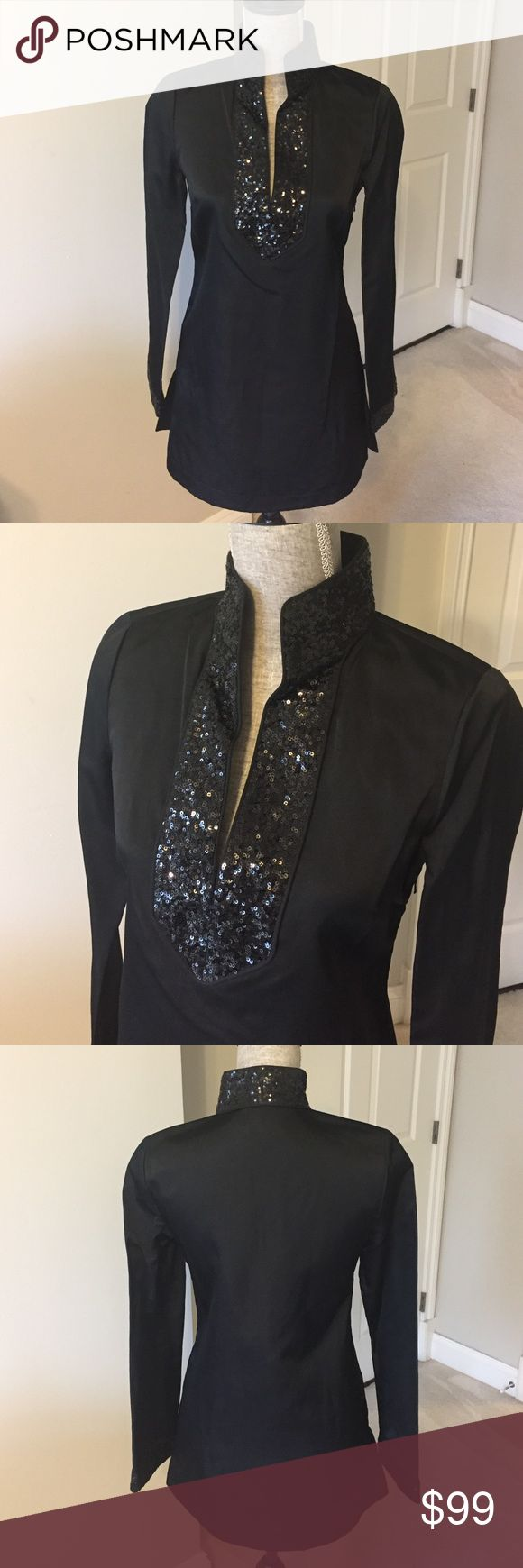 Tory Burch black tunic with sequin detailing Stunning classic Tory Burch tunic. 100% silk with sequin detailing at neckline and cuffs. Side zip closure.                            Measurements: Bust:34 inches Length:30 inches Tory Burch Tops