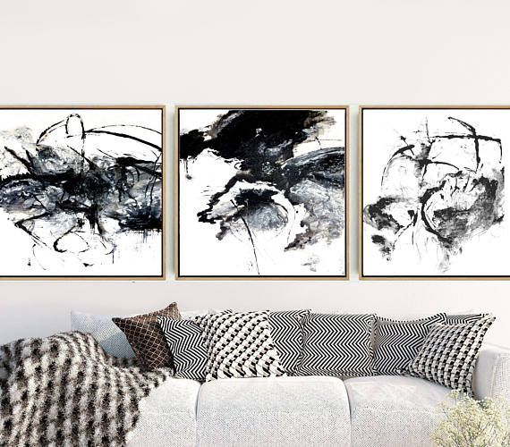 Black and whitetriptych abstract art prints set of 3 prints abstract wall art