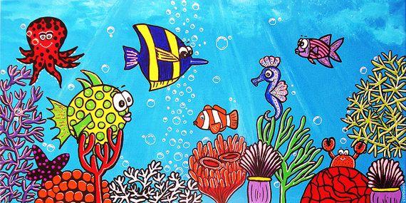 Underwater Wonderland Archival Quality Poster of Original Painting Aquarium Tropical Fish $33.08