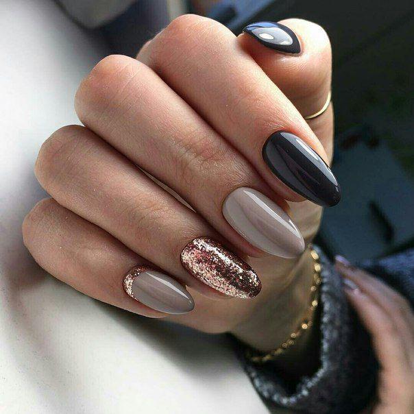 Blue Grey Gold Nails