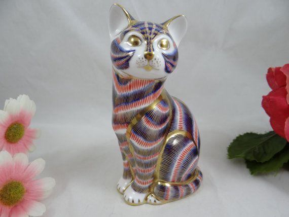Vintage Royal Crown Derby anglais Bone China « Cat » première qualité Paperweight Figurine - Adorable