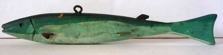 Early primitive folk art wood fish decoy for ice fishing - Ontario