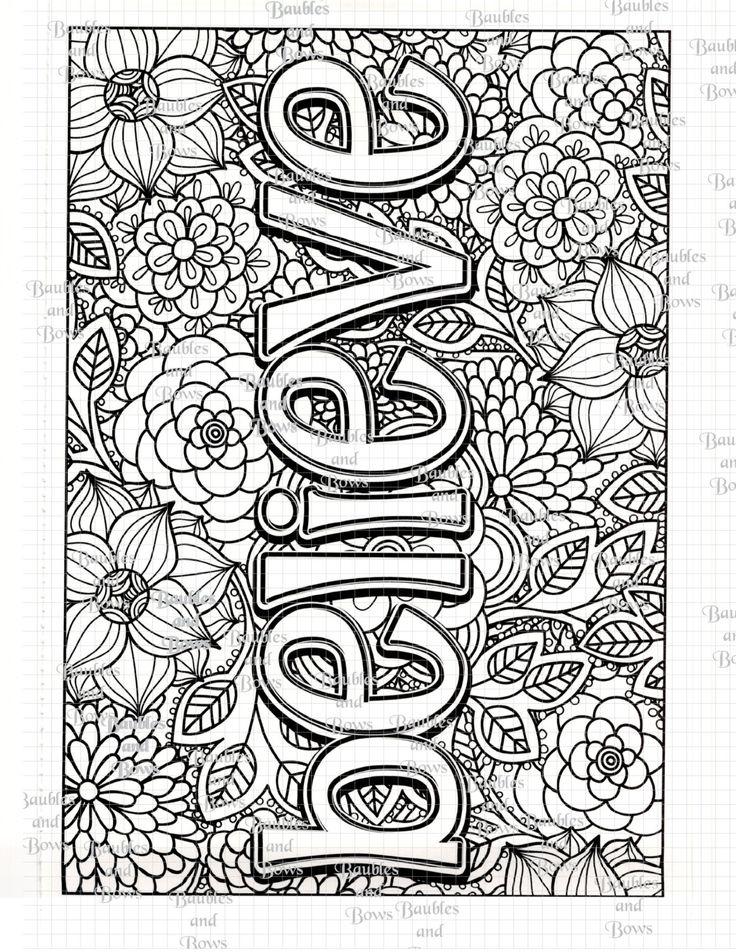 Art Worksheets To Print : Believe printable adult coloring page digital by sewlacee