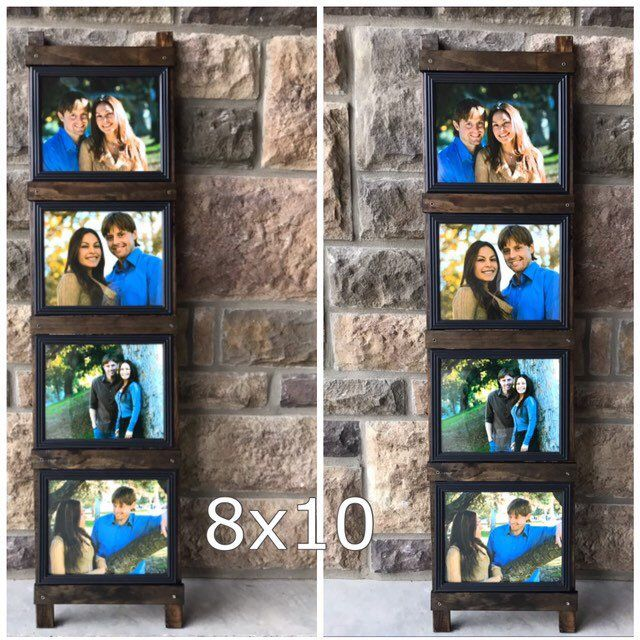 Rustic Photo Frame 4 8x10 Frames Included Ladder Picture Frame Collage Photo Display Wedding Gift Idea In 2020 Photo Wall Display Rustic Photo Frames Gallery Wall Display Ideas