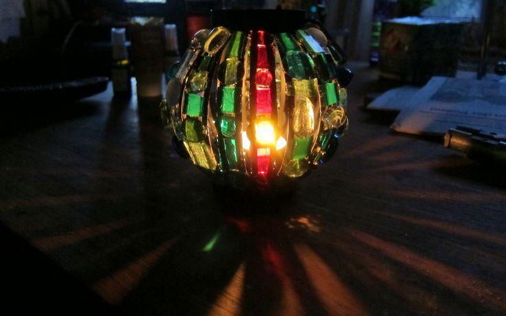 https://flic.kr/p/eUuPmA | Mosaic Candle Holder | In the dark