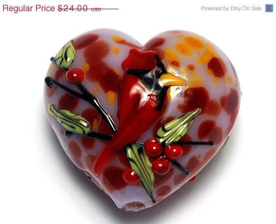 autumn red cardinal heart large handmade glass lampwork beads