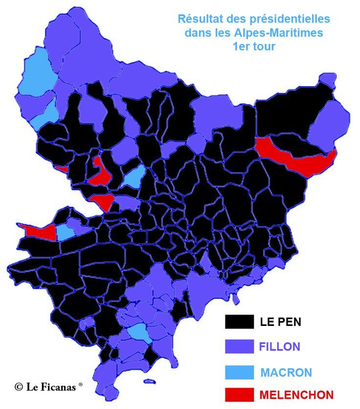 Résultats du premier tour de l'élection présidentielle: Marine Le Pen : 27,75 % François Fillon : 27,39 % Emmanuel Macron : 19,04 % Jean-Luc Mélenchon : 14,96 % La carte exclusive du Ficanas montr…