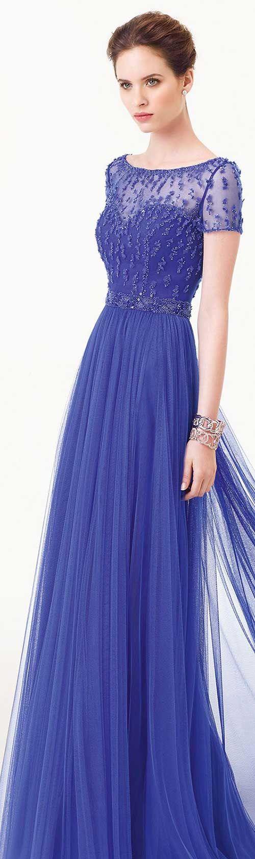 Mavi Uzun Abiye Elbise Modelleri
