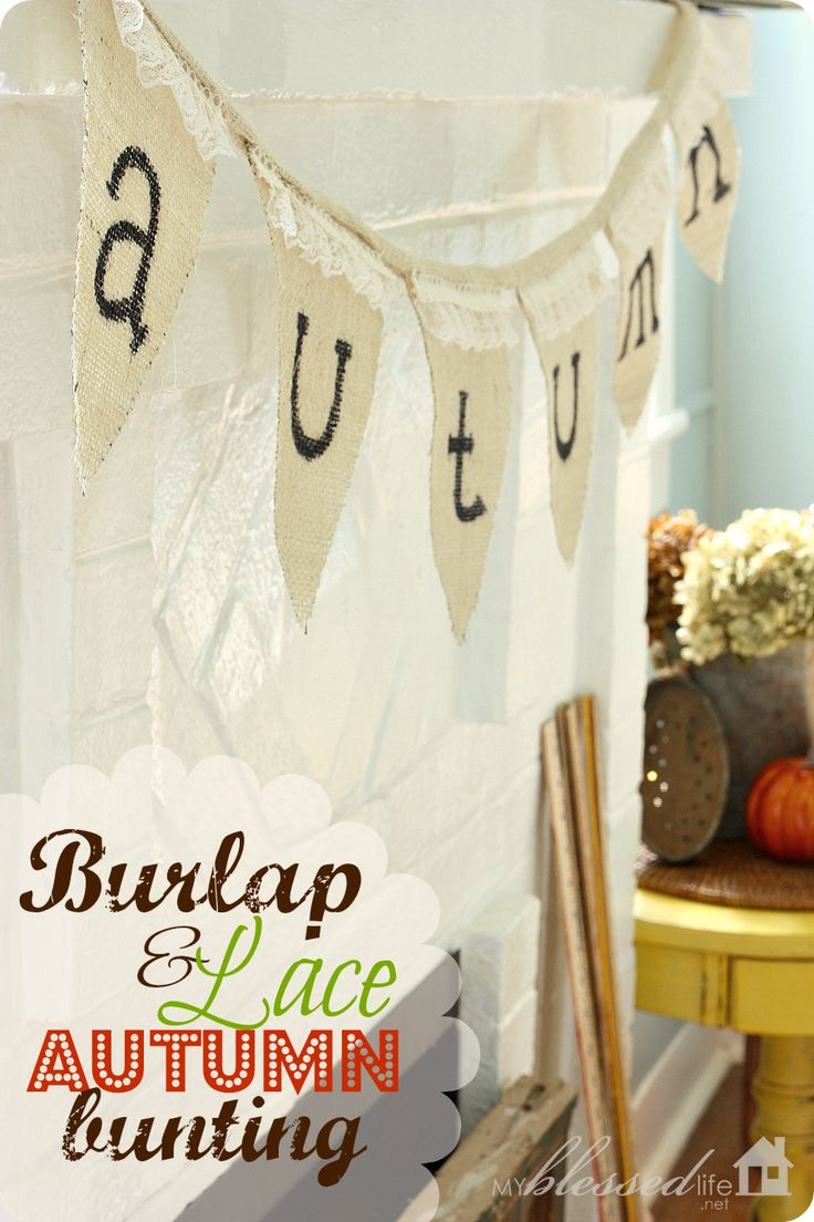 Burlap and Lace Autumn Banner via @myblessedlife2 - no sew!Lace Autumn, Diy Crafts, Lace Buntings, Burlap Lace, Burlap Signs, Burlap Banners, Autumn Buntings, Buntings Banners Garlands, Autumn Banners