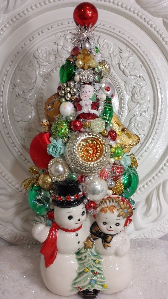 Vintage Snowman Planter BOTTLE BRUSH tree ~ LOADeD ornaments cluster earring WOW