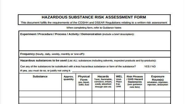 Sample Coshh Assessment Forms 7 Free Documents In Word Pdf