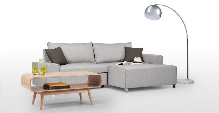 Mayne Eckschlafsofa (Récamiere rechts), Hellgrau ► Neues Design für dein Wohnzimmer! Entdecke jetzt bequeme und schicke Sofas bei MADE.