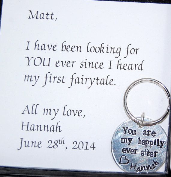 groom gift from bride to groom from bride gift for fiance happily ever after wedding day gift personalized keychain keychain for groom