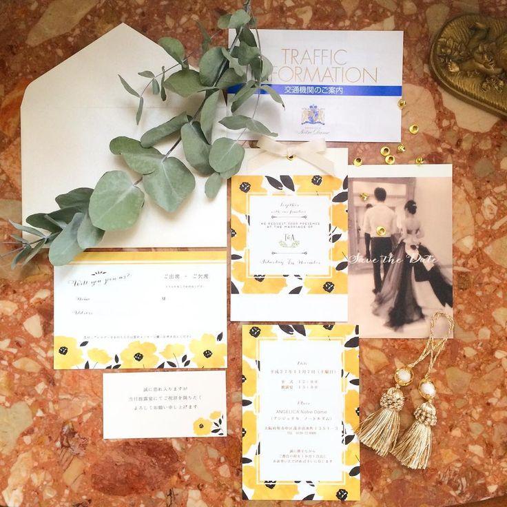 「. Invitation ✉︎ . これでひとりぶん! . #wedding #Invitation #プレ花嫁 #DIY #招待状 #savethedate #付箋 #MrandMrs58」