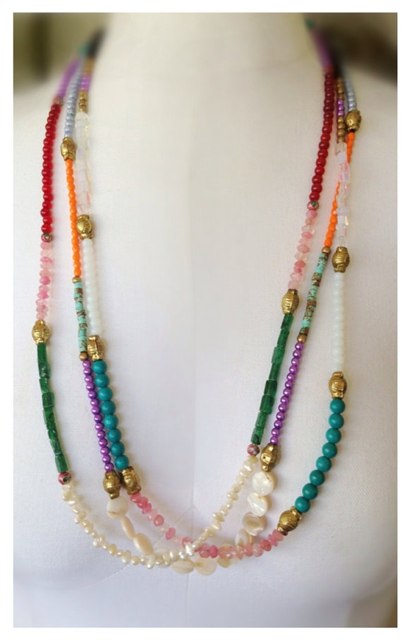 Bright Color Mixed Gemstone Necklace