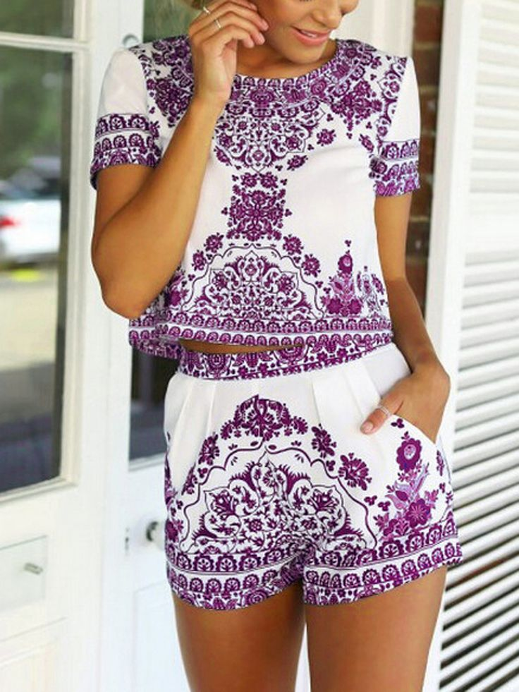 Purple Tile Print Short Sleeve Crop Top With Shorts | Choies