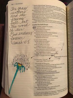 Isaiah 40:8     bible journaling, dandelion mamabeefromthehiveblogspot.com