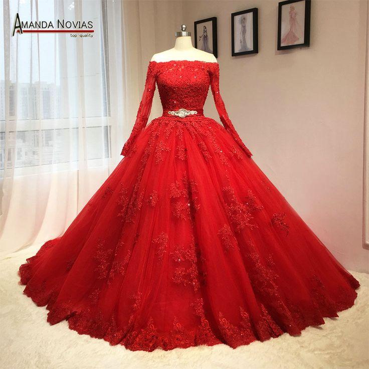 2016 date rouge robe de mariée Puffy robe de bal à manches longues motifs dans Robes de mariée de Mariages et événements sur AliExpress.com | Alibaba Group