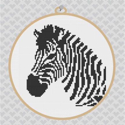 Zebra Silhouette Cross Stitch PDF Pattern. $3.50, via Etsy.