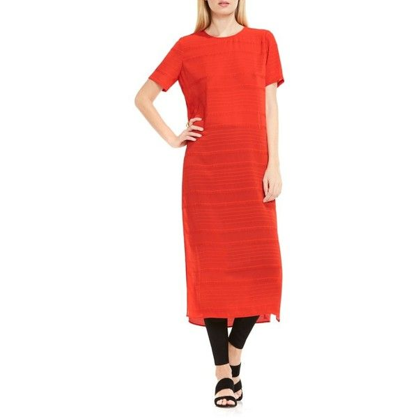 Women's Vince Camuto Novelty Stripe Long Tunic (5.870 RUB) ❤ liked on Polyvore featuring tops, tunics, dynamic red, short sleeve tops, stripe tunic, red short sleeve top, short sleeve tunic and vince camuto tunic