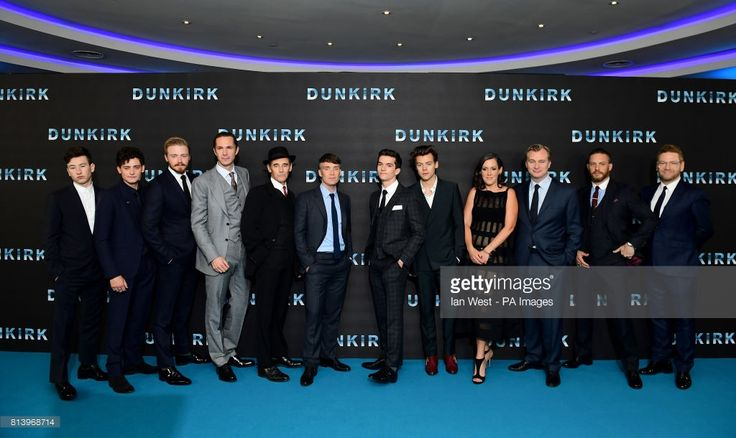 Barry Keoghan (left to right), Aneurin Barnard, Jake Lowden, James D'arcy, Sir Mark Rylance, Cillian Murphy, Fionn Whitehead, Harry Styles, Emma Thomas, Christopher Nolan, Tom Hardy and Sir Kenneth Branagh attending the Dunkirk world premiere at the Odeon Leicester Square, London.