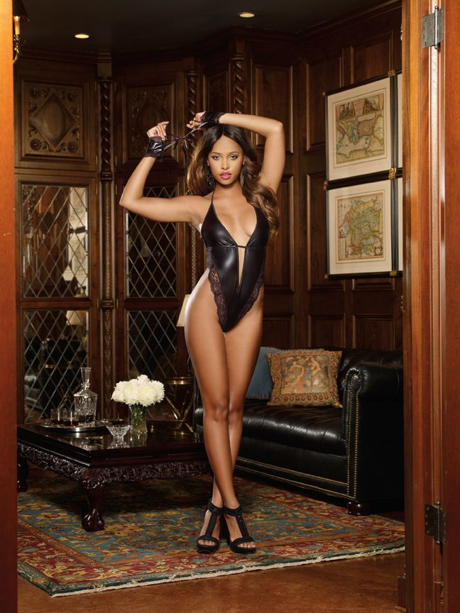 Tiffany Jades Lingerie - Dreamgirl Faux Leather-look Microfiber Plunging Halter Teddy, £27.99 (http://www.tiffanyjadeslingerie.com/dreamgirl-faux-leather-look-microfiber-plunging-halter-teddy/)