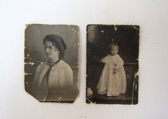 Antique 1908 studio portrait photos of young woman and by evaelena, $6.50